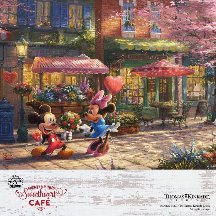 """The Thomas Kinkade Studios is proud to present """"Mickey and Minnie – Sweetheart Café!  This romantic painting celebrates the beauty of true love, and is available in a very small edition size. Don't miss out - Reserve this exclusive Disney art at your local Authorized Thomas Kinkade Gallery or online at  https://thomaskinkade.com/art/mickey-and-minnie-sweetheart-cafe/?ref=13"""