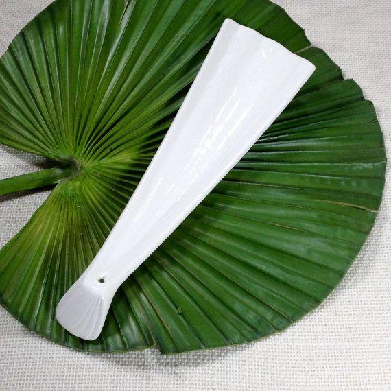 Vintage Retro Asian White Spoon Rest Solid White Spoon Rest