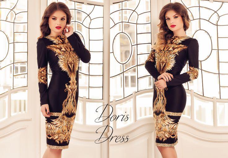 Midi black dress with abstract print  - last pieces available: https://missgrey.org/en/dresses/midi-black-dress-with-abstract-print-in-beige-shades-doris/444?utm_campaign=decembrie&utm_medium=rochie_doris_neagra&utm_source=pinterest_produs_stoc