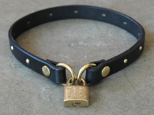The Lockette locking leather dog collar with heart by California Collar Co.  Handmade at our workshop in Los Angeles, CA.