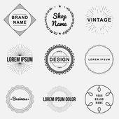 Juego de etiqueta logo gráficos e insignias vintage retro. Diseño de elementos, muestras del negocio, etiquetas, logotipos, diseño de círculo Vector De Stock