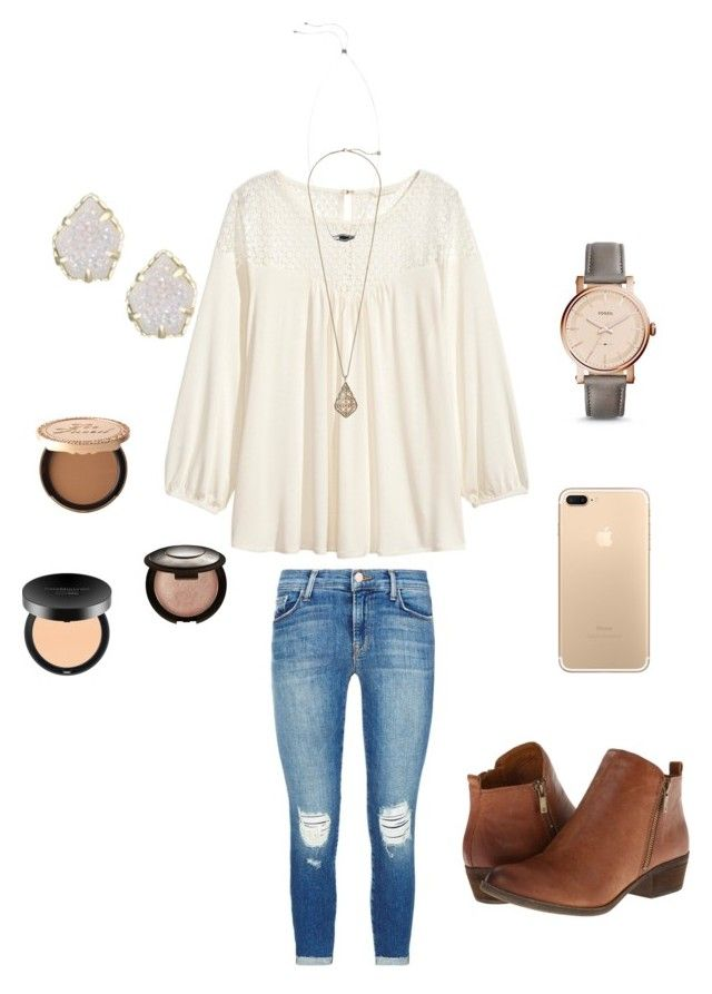 """""""It's my bday!!!"""" by lizakappil on Polyvore featuring J Brand, Lucky Brand, H&M, FOSSIL, Kendra Scott, Too Faced Cosmetics, Becca and Bare Escentuals"""