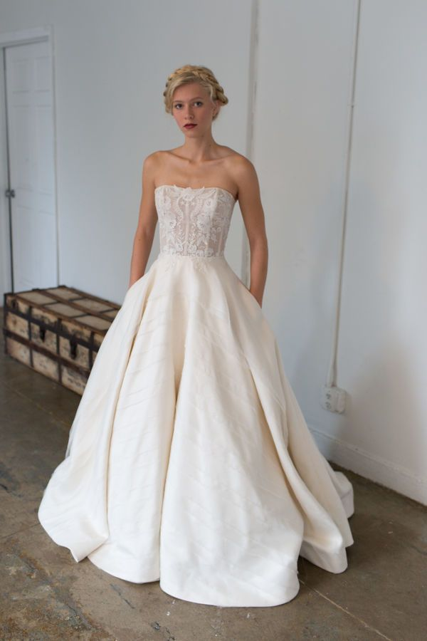 Nolan: Taking on a strapless lace bodice and the name of Tara's nephew, this wedding gown features embroidery that complements a full skirt fit for a princess.  Tara LaTour Fall 2017 Bridal Collection from New York Bridal Fashion Week #NYBFW
