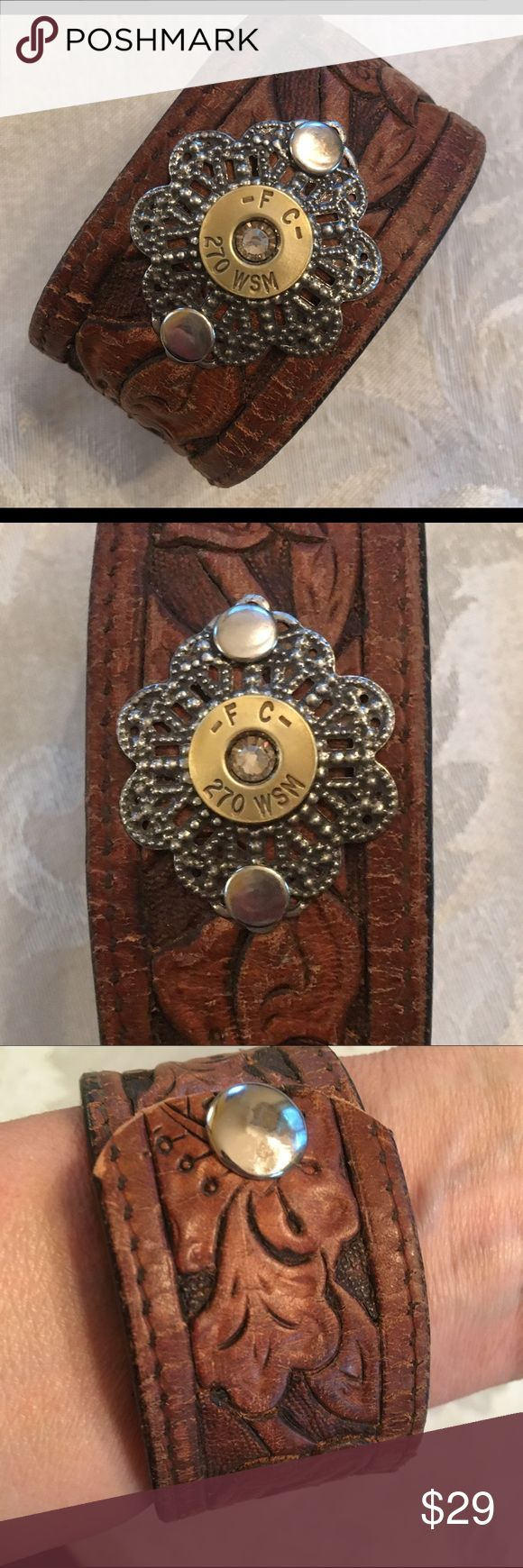 Leather cuff with bullet casing Vintage leather embellished with Federal 270 genuine fired bullet casing Jewelry Bracelets