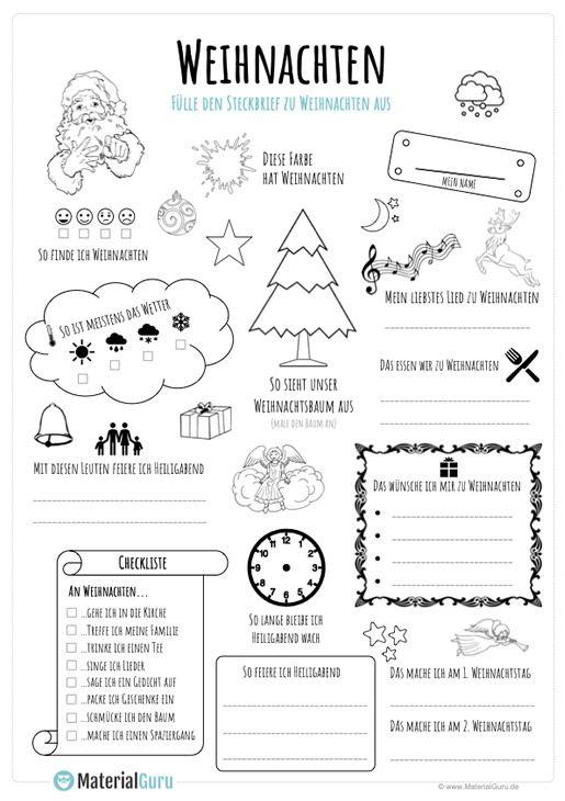 ein kostenloses arbeitsblatt zu weihnachten auf dem die kinder einen steckbrief zu weihnachten. Black Bedroom Furniture Sets. Home Design Ideas