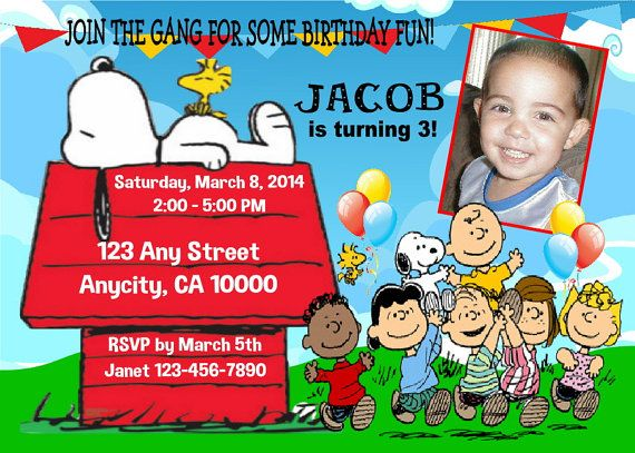 Newly Listed Custom Peanuts Gang Charlie Brown Snoopy Birthday Party Invitation With Free Thank You Card By Printablet Printable Treasures On Etsy