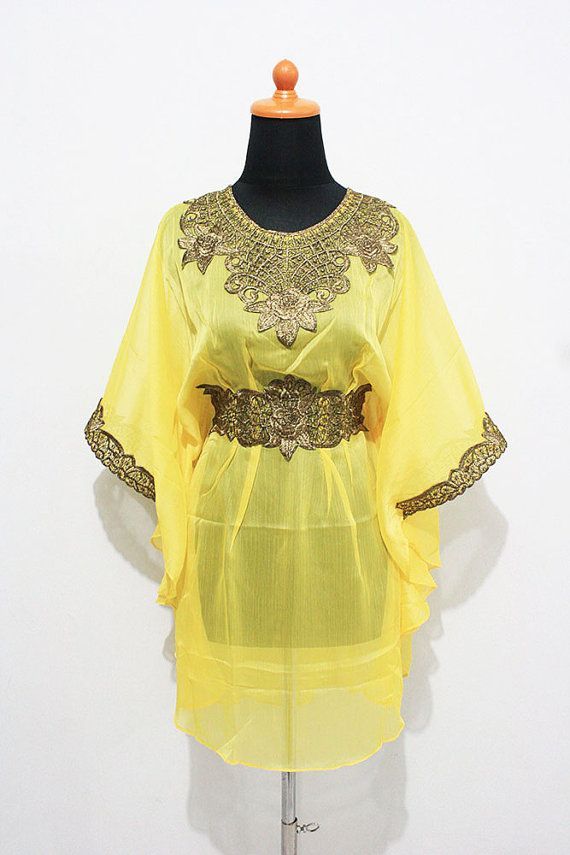 Blusa in Chiffon giallo marocchino caftano corto abito di aboyshop, $33.99