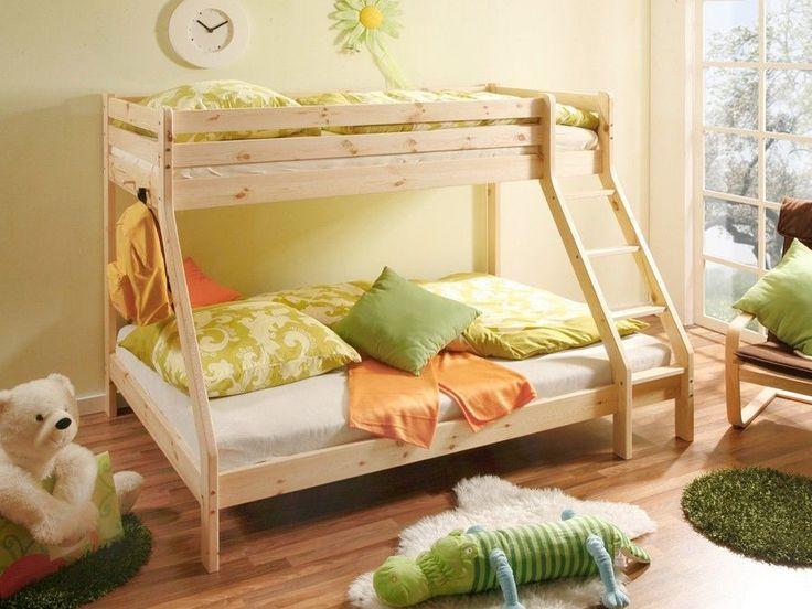 Cameretta bambini, letto a castello moderno in legno pino naturale
