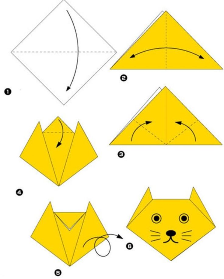 Simple origami for kids and their parents. Selection of funny and cute figures. Cat