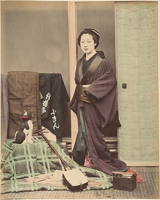 [Japanese Woman in Traditional Dress Posing with Cat and Instrument] 1870s - Shinichi Suzuki (Japanese, 1835–1919)