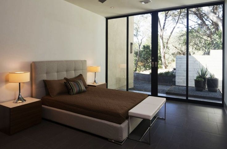 Home Design, Cozy Skyline House Bedroom Furnished With Modern Bed Frame Bench And Wooden Nightstands: Captivating Modern House Design Ideas with Infinite Swimming Pool