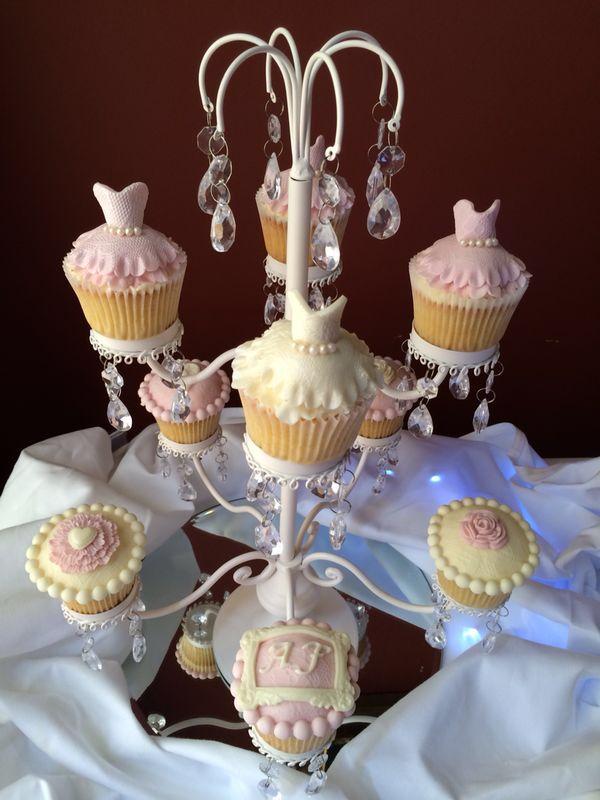 Wedding dress and bridesmaid dress cupcakes