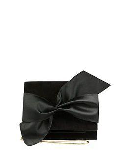 Victoria Beckham - Bow Suede & Satin Mini Clutch