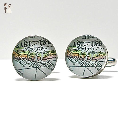 Bali Indonesia Map Cuff Links by DLK Designs - Groom cufflinks and tie clips (*Amazon Partner-Link)