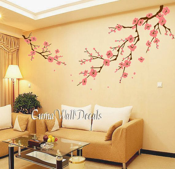 blue cherry blossom wall decals white flower vinyl mural nature wall sticker  children decals nursery wall
