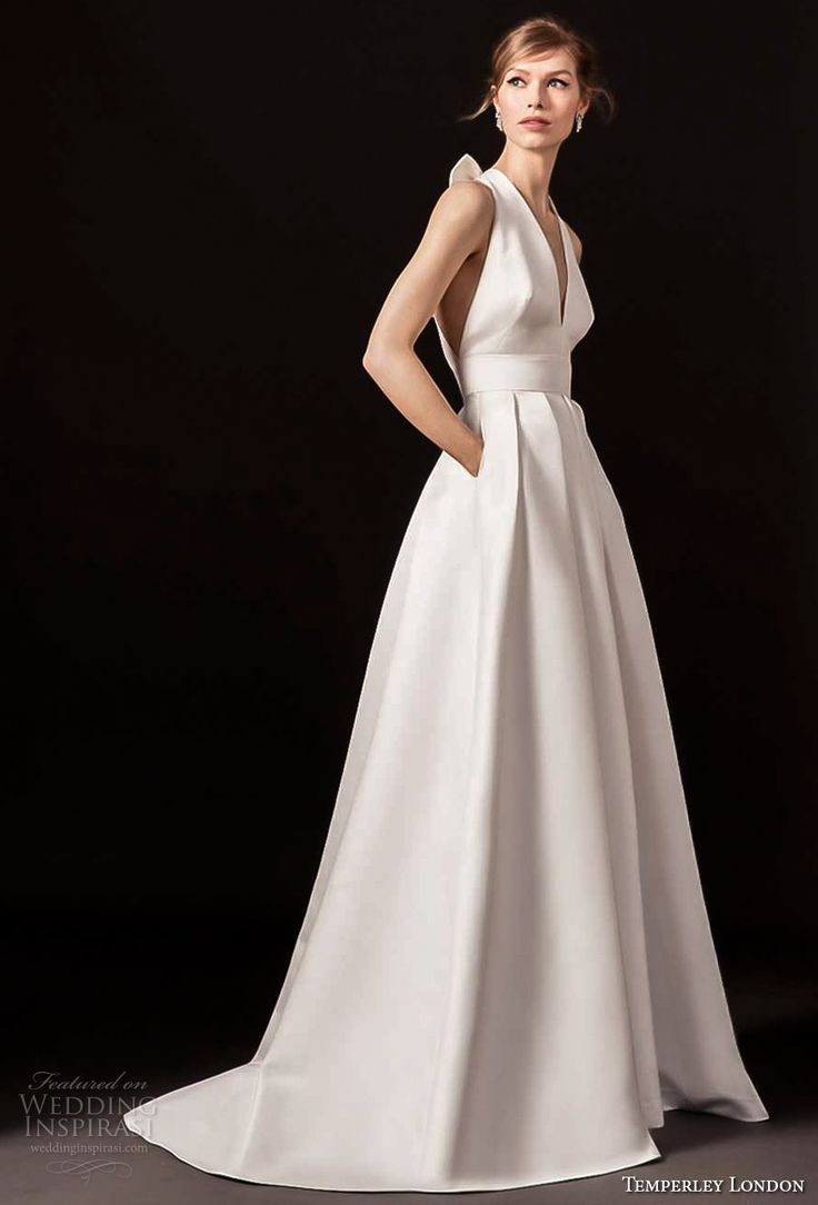 temperley london spring 2018 sleeveless halter v neck simple clean a line wedding dress with pockets strap back sweep train (octavia) mv