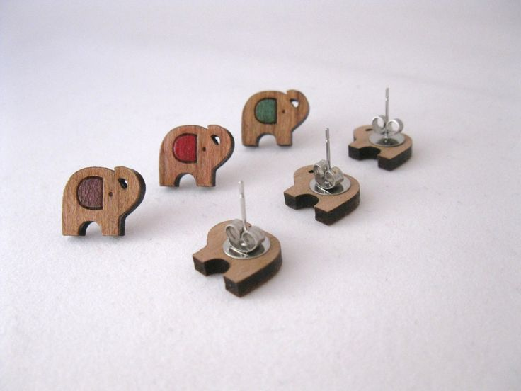 Laser Cut Wooden Elephant Stud Earrings. Choose Your Color! by BunnaAndDooDesigns on Etsy