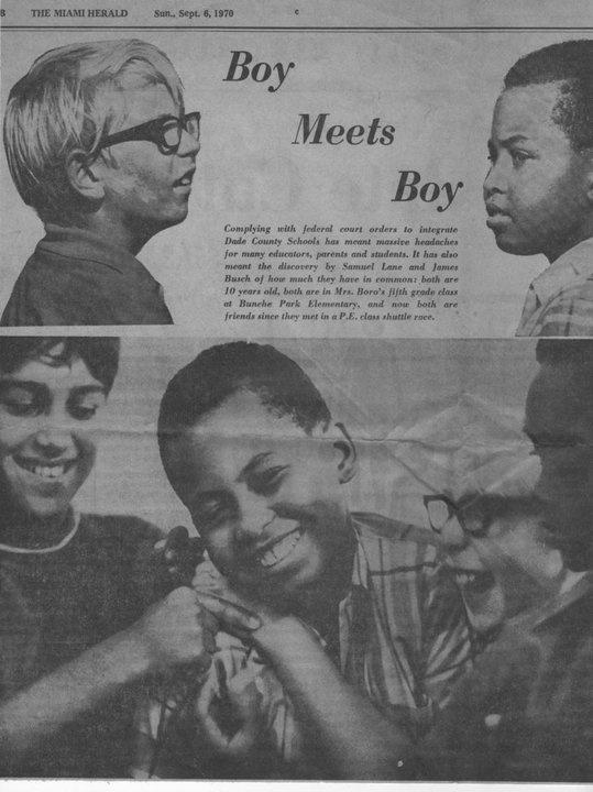 #Miami Herald article Integration, Miami, FL.  Busing kids into Bunche Park Elementary.  #Miami History