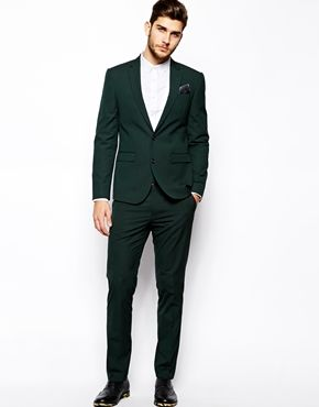 Asos Dark Green Suit  Seems like Asos does a lot of green - http://www.asos.com/ASOS/ASOS-Slim-Fit-Suit-Jacket-In-Dark-Green/Prod/pgeproduct.aspx?iid=3483724