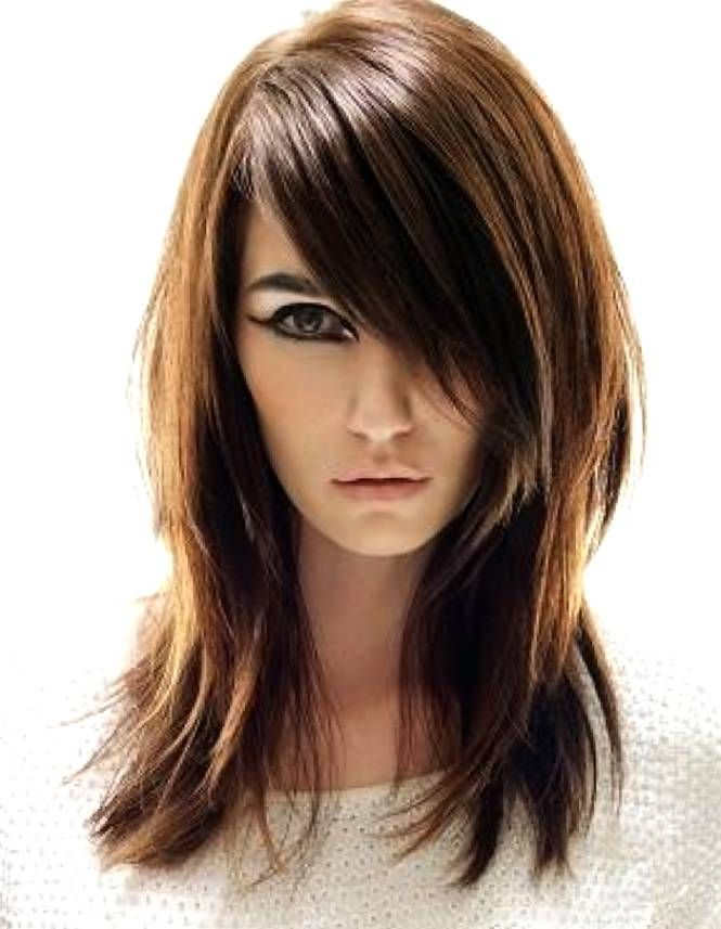 Long Hair With Angled Bangs And Layers Hair Color Ideas And Styles