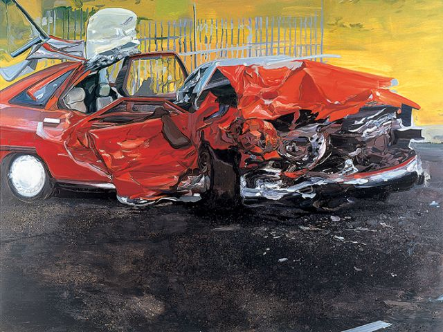 """Tom McGrath, Untitled (Car Crash), 2004, oil on canvas, 72"""" x 96"""". Courtesy of Sue Scott Gallery, New York. Paris Review - Curated by David Salle, Amy Sillman and Tom McGrath"""