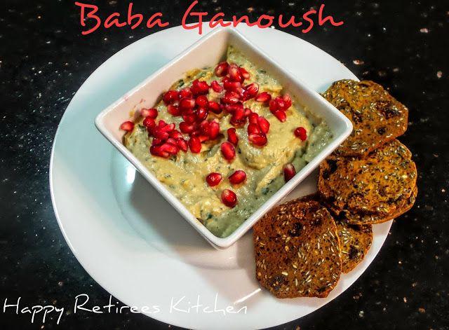 Happy Retiree's Kitchen: Pomegranate Flavoured Baba Ganoush #eggplant #middleeasternfood #dips #starters #healthy snacks