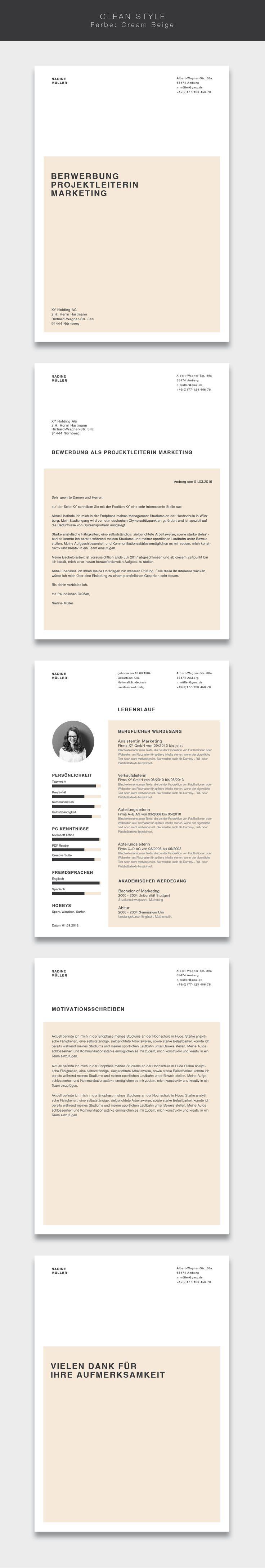 """Ab jetzt neu in unserem Shop. Die Bewerbungsvorlage ( #cvtemplate ) """"Clean Style"""" in der Farbe Cream Beige. Less is more. Einfaches und übersichtliches Design kombiniert mit einem strukturierten Aufbau. Mit der Vorlage """"Clean Style"""" lassen Sie alle Mitbewerber verblassen. Sie erhalten von uns ein Deckblatt, Anschreiben, Lebenslauf, Motivationsschreiben und Abschlussseite. Die Datei bekommen Sie als fertige Pages- oder Word-Datei inklusive Platzhaltertext mit Hinweisen. #grafikdesign #fashion"""