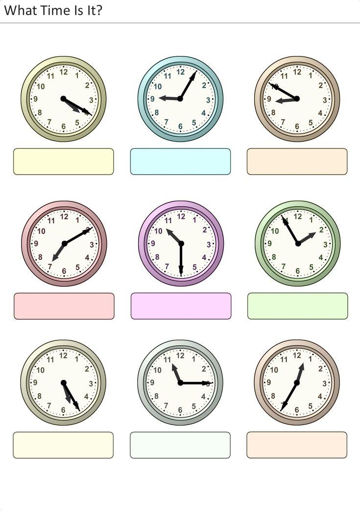 Actividades para niños preescolar, primaria e inicial. Plantillas con relojes analogicos para aprender la hora diciendo que hora es. Que hora es. 13