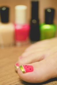 Watermelon toenails! Cute!