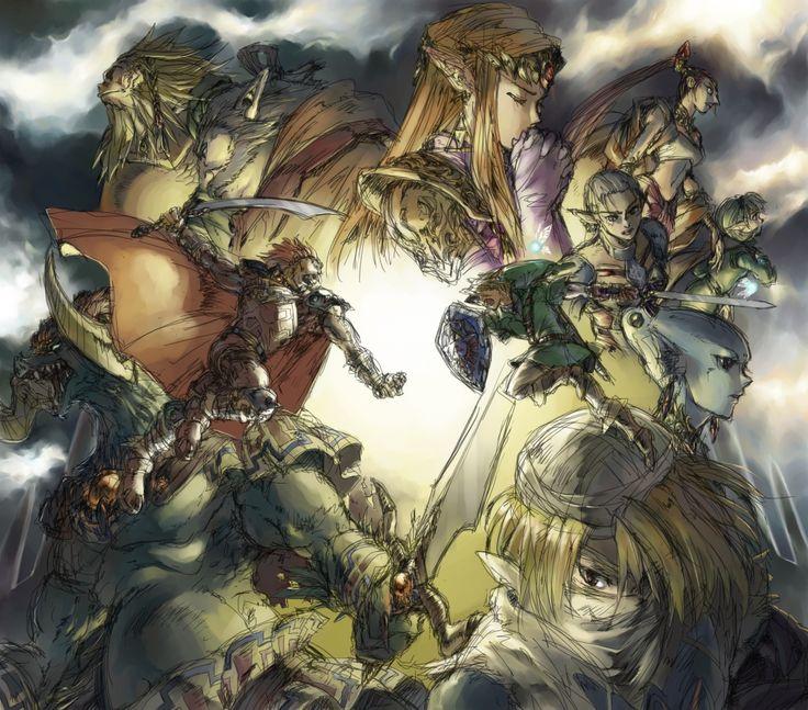 The Legend of Zelda: Ocarina of Time   Adult Link, Adult Princess Zelda, and Ganondorf, the Sages (Rauru, Saria, Darunia, Princess Ruto, Impa, and Nabooru), and Sheik / 「時のオカリナ ラフ」/「アンティーク」のイラスト [pixiv]
