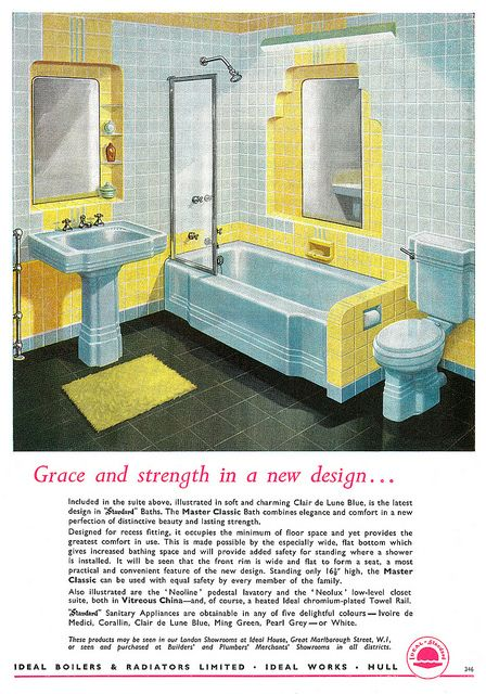 A lovely white and butter yellow bathroom from an Ideal Boilers & Radiators ad from 1956.
