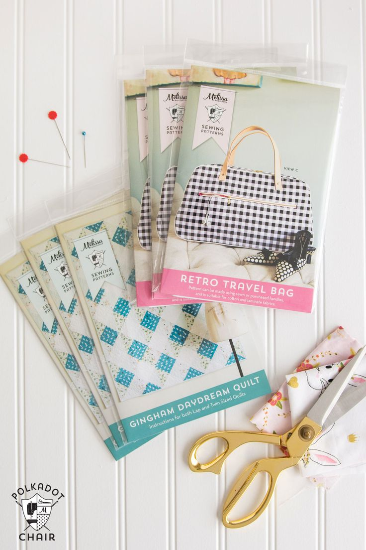Printed copies of the Retro Travel Bag Sewing Pattern and the Gingham Daydream Q...