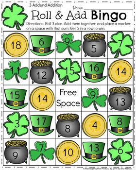 FREE Addition Bingo game. Roll 3 dice, add them together, and  cover the sum. Great first grade math game.