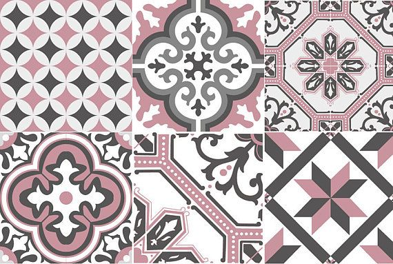 Ginette 07 Adhesive Tiled Cement Tiles Pink Adhesif Carreaux De Ciment Carreau De Ciment Carrelage Ciment