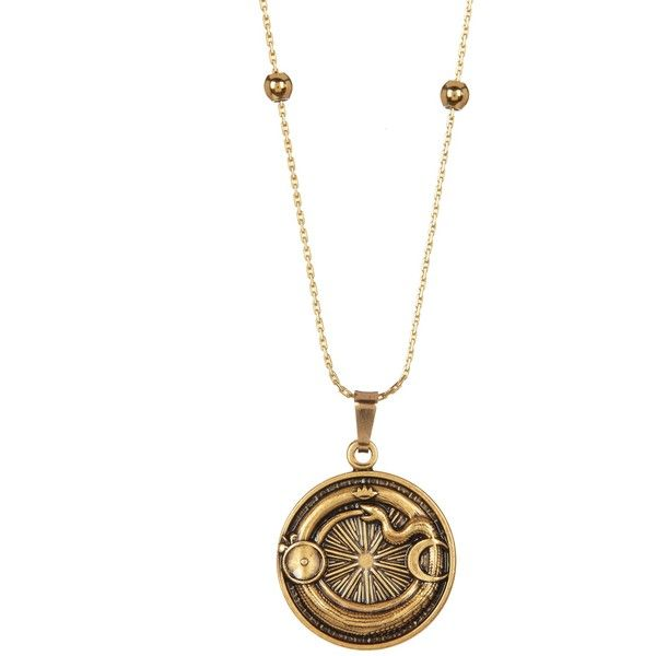Alex and Ani Ouroboros Pendant Necklace ($19) ❤ liked on Polyvore featuring jewelry, necklaces, gold finish, knot jewelry, knot pendant necklace, alex and ani, pendant necklace and adjustable knot necklace