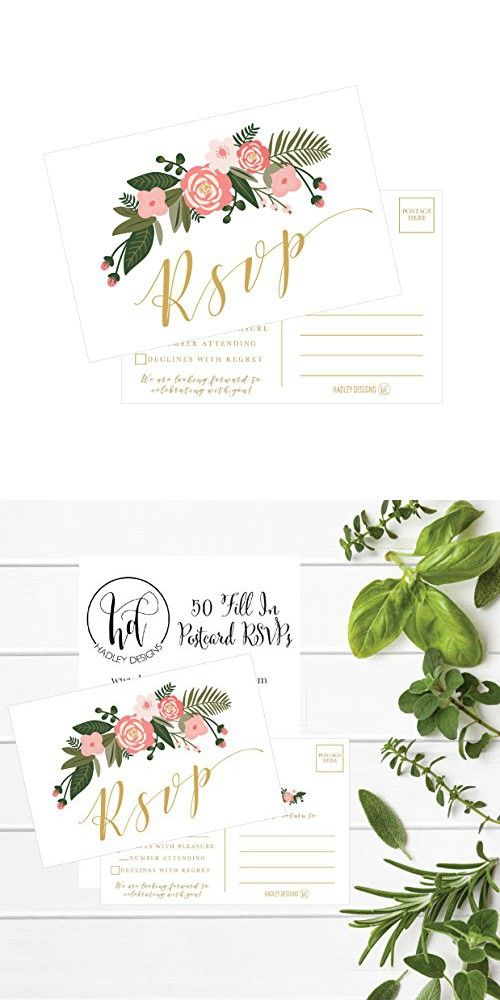 437 best wedding invitations images on pinterest 50 blank gold floral rsvp cards rsvp postcards no envelopes needed response card stopboris Images