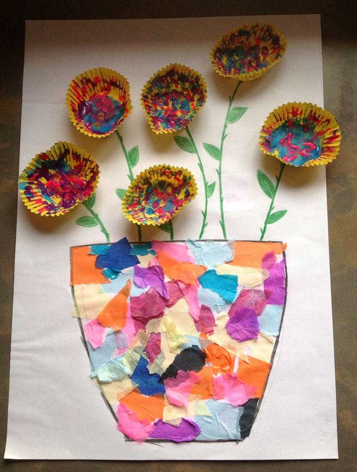Tissue paper vase & painted cupcake case flower - easy toddler craft