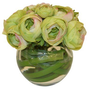 """Check out this item at One Kings Lane! 6"""" Ranunculus Bouquet in Vase, Faux"""