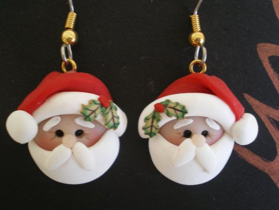 Polymer+Clay+Santa+Pierced+Dangle+Earrings+by+by+HelensClayArt,+$11.95