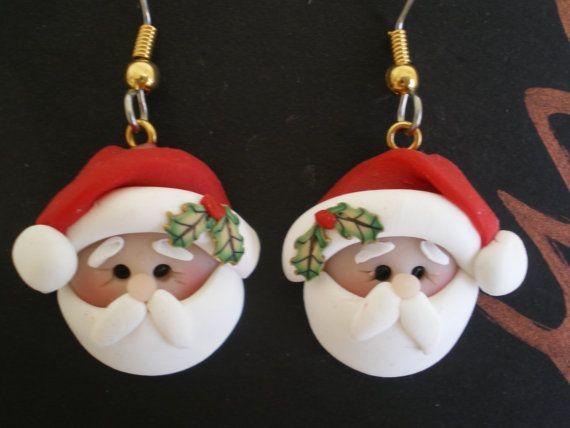 Polymer+Clay+Santa+Pierced+Dangle+Earrings+by+by+HelensClayArt,+$11.95