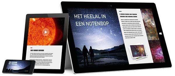 Een voorbeeld van een Sway weergegeven op een telefoon, tablet en groter scherm. Hiermee wordt gedemonstreerd hoe een Sway wordt aangepast voor weergave op verschillende apparaten