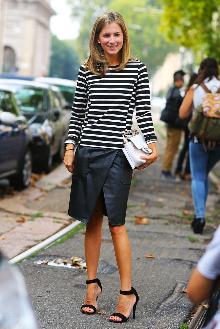 Marina Larroude Stripes and Leather Skirt | Street Style