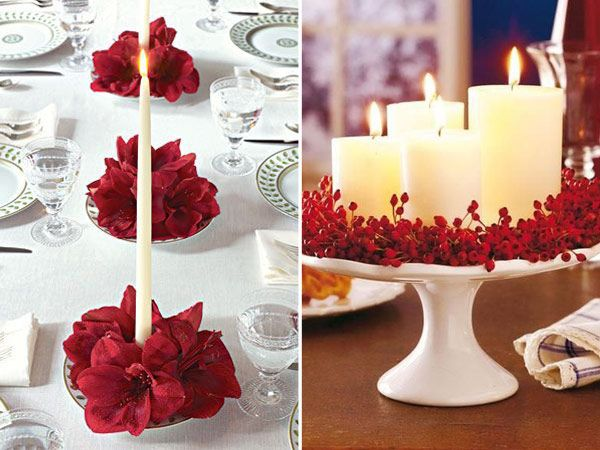 Ideias de Natal - decoração com velas enfeitadas com flores e frutinhas vermelhas