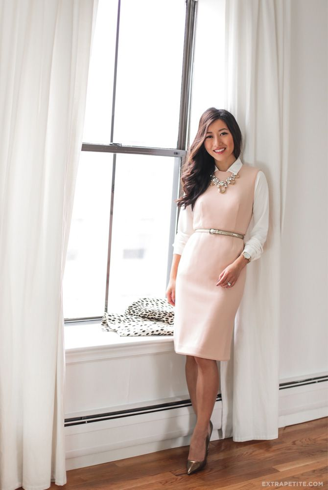 office outfit idea // collared blouse layered under a sleeveless sheath dress for work