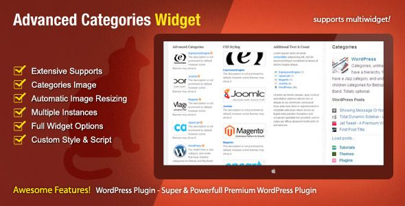 Want your WordPress categories widget with image? This categories widget for WordPress is an advanced widget that gives you total control over the output