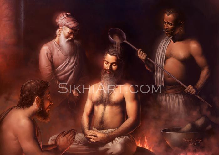 Guru Arjun Dev ji peacefully meditates as hot sand is poured on his naked body. He sits on a hot plate in total concentration.   He was harassed and tortured by King Jehangir. Jehangir writes in his diary that he killed the Guru for supporting his rival brother and for having a strong influence over Hindus and Muslims.  http://sikhiart.com/for-sale/guru-arjun-dev/