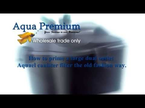 How to prime a large dual outlet Aquael canister filter the old fashion way