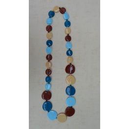 vintage kunststof halsketting gekleurde schijfjes