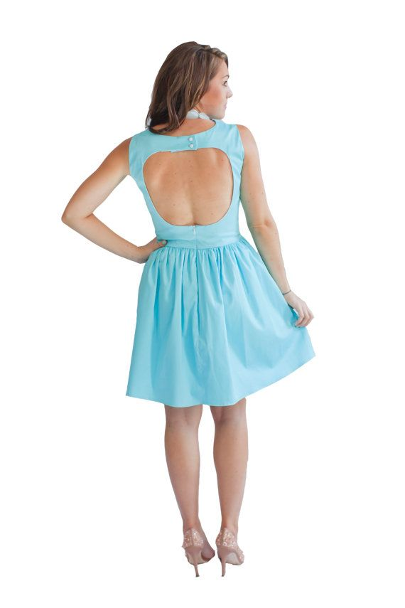 Womens sundresses backless dress aqua dress wedding for Vintage wedding guest dresses