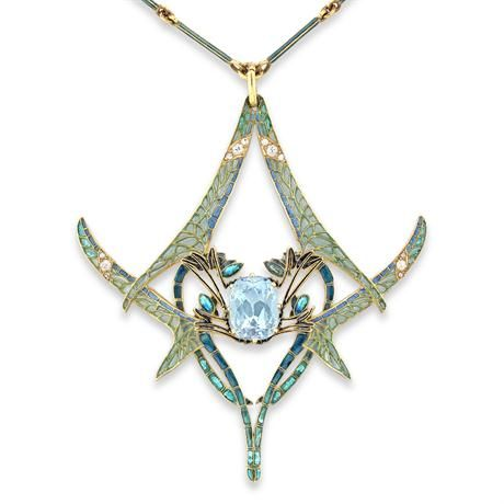 Lalique - 1900 signed 'Dragonflies' Pendant. Gold/ enamel/ aquamarine/ diamond. Four opposing dragonflies decorated with plique-à-joir enamel wings, embellished with circular- and rose-cut diamonds, centered on a cushion-shaped aquamarine.